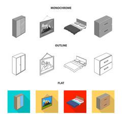 Vector illustration of bedroom and room logo. Collection of bedroom and furniture stock vector illustration.