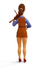 3d render Illustration of Violinist Woman Girl Playing the Violin Instrument, Full-length character, Back view, Isolated On white background