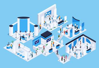 Isometric exhibition hall with people.