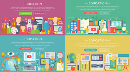 Vector collection of flat education design concepts set. Back to school horizontal concept with school icons items.