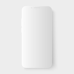 3d realistic white vector smartphone template with smooth shadow. Empty blank screen for inserting any UI. Floating phone design mock up for business app presentation.
