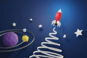 Paper art style of Rocket launch in outer space on a blue background with planet, Create your own personalized greeting cards for any special occasions, 3D rendering and minimal concept design.