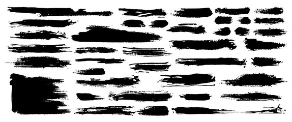 Set of black paint, ink, grunge, dirty brush strokes. Dirty artistic design element, box, frame or background for text. Isolated on white background. Vector set of grunge brush strokes. Wall mural