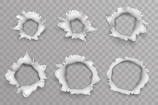 Ripped torn metal window shellhole blow bullet projectile explosion hole set transparent background vector illustration