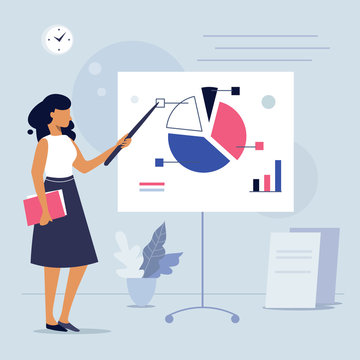 Confident young woman gives a report, businesswoman standing near flip chart and shows graphics, Office interior, Business presentation concept vector illustration