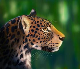 Portrait of leopard.  Digital painting