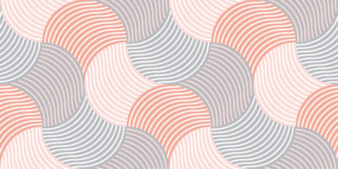 Pastel color 60s style geometric seamless pattern