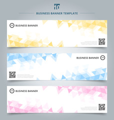 Set of abstract banner template yellow, blue, pink pastel color triangles geometric pattern on white background.
