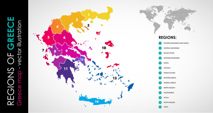 Vector map of Greece regions beautiful colours