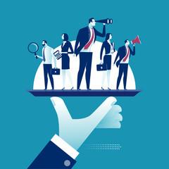 Offer of Services. Business team on a platter. Concept vector illustration.