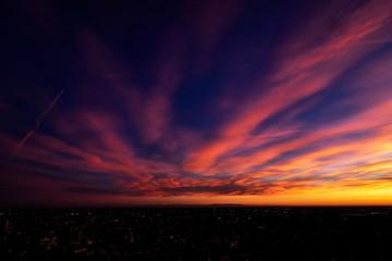 Sunset from ventians walls, Bergamo, Italy.
