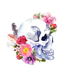 Human skull with flowers, feathers. Watercolor for Halloween