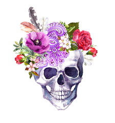 Human skull - flowers, ethnic ornament in boho style. Watercolor