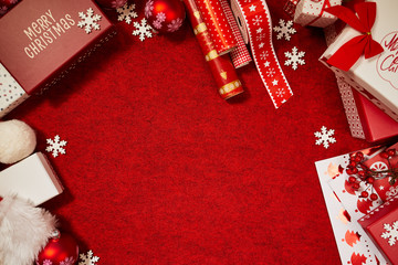 lot of gift box on color background for holiday card