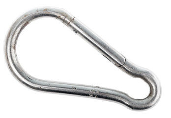 stainless steel spring snap hook carabiner link grade heavy duty quick link lock carabiner isolated on a white background