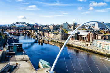 Classic view of the Iconic Tyne Bridge spanning the River Tyne between Newcastle and Gateshead