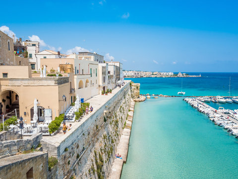 Otranto, Apulia, Italy - Jul 09, 2018: The old town of Otranto in Italy, province of Lecce (Apulia, Italy), in a fertile region once famous for its breed of horses.
