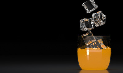 Beverages. Classic glass of orange juice with ice cube on dark background.  3D render. 3d illustration.