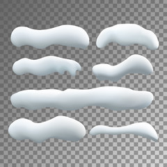 Vector set of snow caps isolated on transparent background.