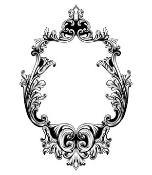 Vintage mirror frame Vector. Baroque rich design elements decor. Royal style ornament