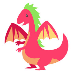 Funny baby dragon in fairy tale