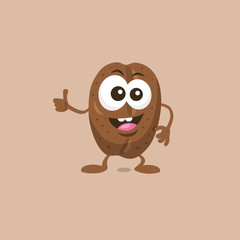 Illustration of cute happy coffee bean mascot recommends with big smile isolated on light background. Flat design style for your mascot branding.