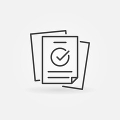 Papers with checkmark linear vector concept icon