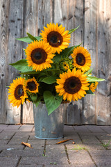 Tuinposter Zonnebloem A beautiful sunflower bouquet in front of a wooden wall. Germany