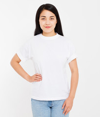 young sexy japanese,asian brunette woman in blank white t-shirt,shirts front view isolated on white background, mock up, copy space.