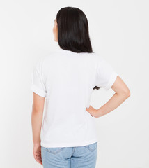 back view young korean,asian brunette woman in blank white t-shirt, t shirt design and people concept, mock up, copy space.