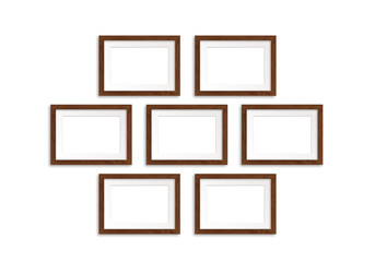 Seven photo frames isolated on white background, gallery style mock up
