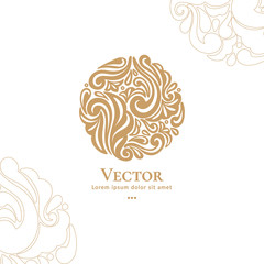 Abstract emblem. Elegant, classic elements. Can be used for jewelry, beauty and fashion industry. Great for logo, monogram, invitation, flyer, menu, brochure, background, or any desired idea.