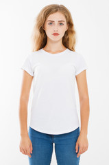 young sexy caucasian woman in blank white t-shirt. t shirt design and people concept. Shirts front view isolated on white background, mock up, copy space.