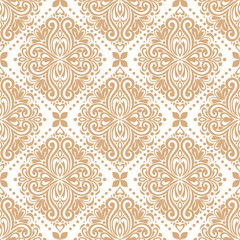 Golden vintage vector seamless pattern, wallpaper. Elegant classic texture. Luxury ornament. Royal, Victorian, Baroque elements. Great for fabric and textile, wallpaper, or any desired idea.