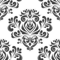 Black and white damask vector seamless pattern, wallpaper. Elegant classic texture. Luxury ornament. Royal, Victorian, Baroque elements. Great for fabric and textile, wallpaper, or any desired idea