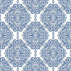 Blue and white damask vector seamless pattern, wallpaper. Elegant classic texture. Luxury ornament. Royal, Victorian, Baroque elements. Great for fabric and textile, wallpaper, or any desired idea