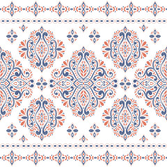 Beautiful orange and blue floral seamless pattern. Vintage vector, paisley elements. Traditional,Turkish, Indian motifs. Great for fabric and textile, wallpaper, packaging or any desired idea.
