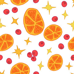 Seamless christmas pattern with oranges, berries and stars
