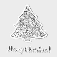 Patterned Grayscale Christmas Tree Made as Sticker