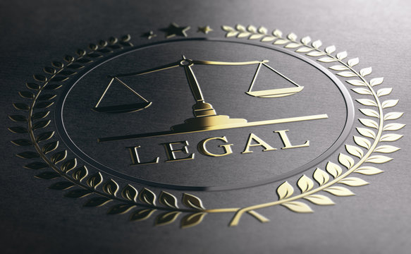 Legal Advice, Scales Of Justice, Golden Law Symbol Over Black Paper Background