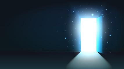 Light from the open door of a dark room, abstract mystical shining exit, background, open door template, mock up