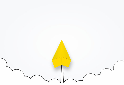 Concept of business start-up, boost or success. Paper Rocket or airplane launch