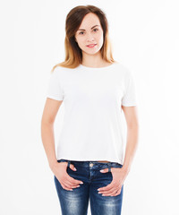 pretty sexy woman in white t shirt,shirt design and people concept. Shirts front view isolated on white background. Mock up, copy space