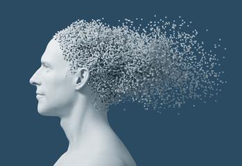 Desintegration On 3D Pixels Of Man's Head On Blue Background
