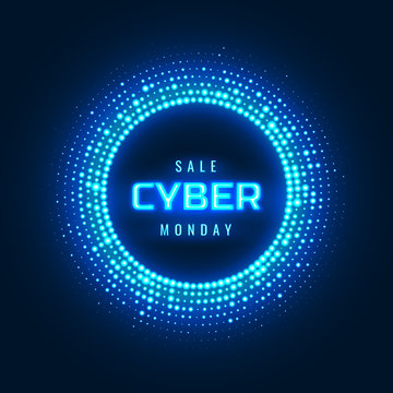 Cyber Monday concept banner with neon glowing halftone circle. Luminous cyber design element. Vector futuristic promotional background