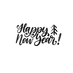 Happy New Year, hand lettering. Vector illustration. Decorative calligraphic design for greeting card, poster concept