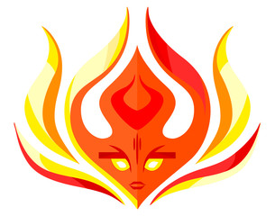 Flame face icon -  vector logo template concept illustration. Red fire sign. Hot warm symbol. Design element.