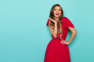 Beautiful Laughing Young Woman In Red Dress