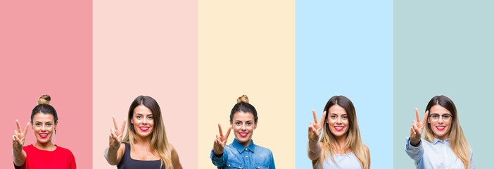 Collage of young beautiful woman over colorful stripes isolated background showing and pointing up with fingers number two while smiling confident and happy.
