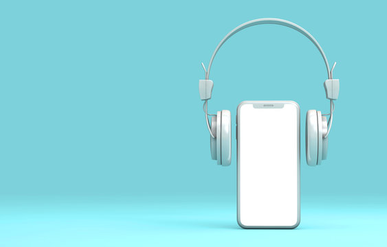 Modern frameless smartphone with headphones. 3D Rendering